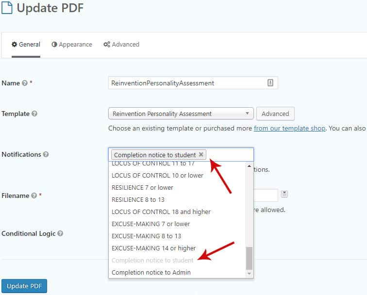 notifications 3 - How to generate a customizable PDF with Gravity Forms