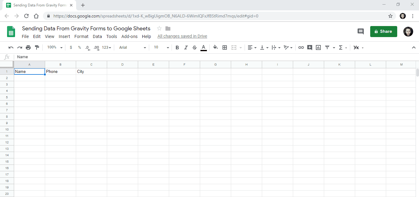 Screenshot 1 - How to send data from GravityForms to Google Sheets
