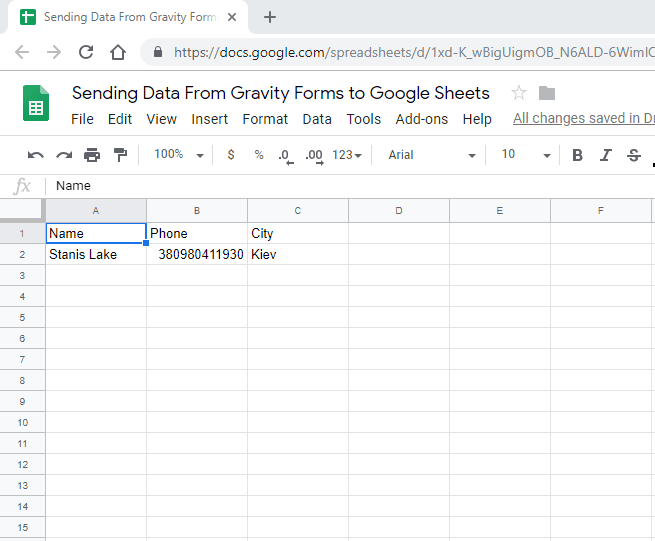 Screenshot 13 - How to send data from GravityForms to Google Sheets