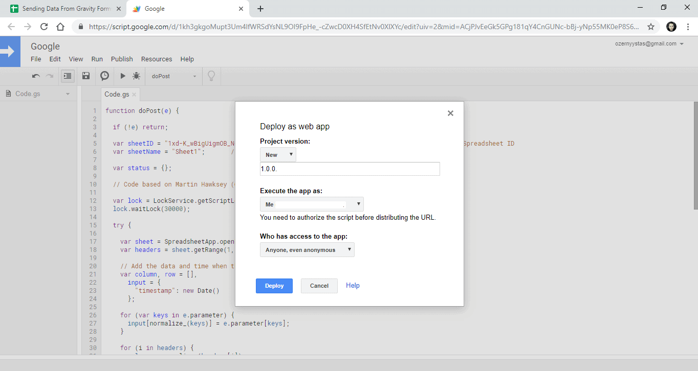 Screenshot 8 - How to send data from GravityForms to Google Sheets