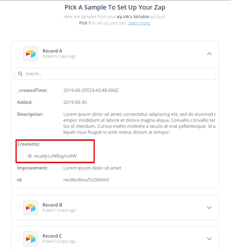 Edit a Step   Zapier Google Chrome 2019 08 11 04.18.42 - Send a LINKED record value from Airtable to Zapier