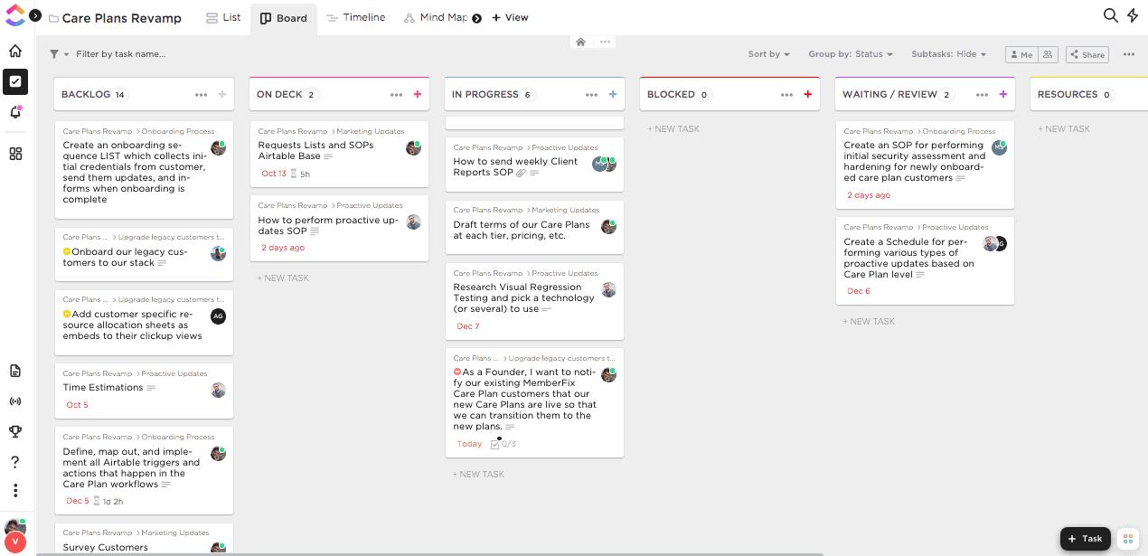 clickup screenshot - Announcing Our New WordPress & Membership Site Care Plans!