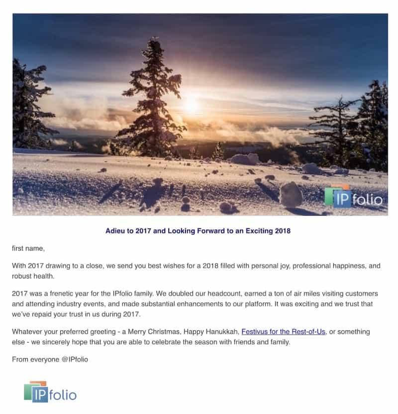 Seasons Greetings Email to Customers