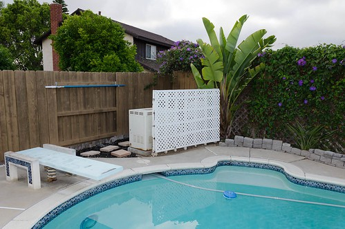 wooden pool fence photo