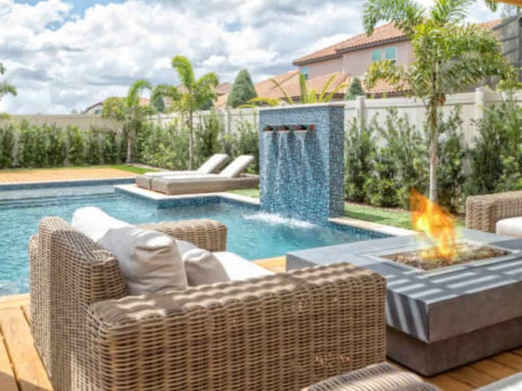 best deck fire pits beside the pool
