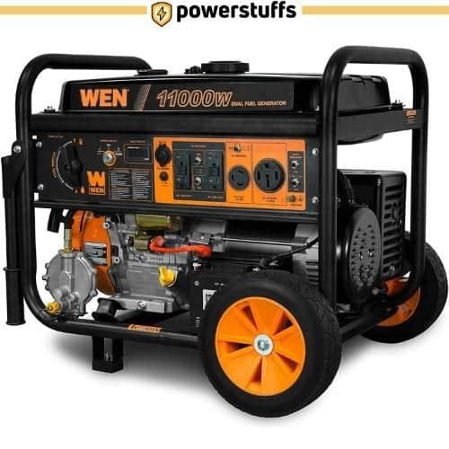 WEN 11000 Watt Dual Fuel Generator with Wheel Kit and Electric Start