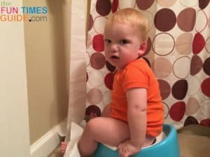 My baby is comfortable sitting on the Baby Bjorn smart potty, but he doesn't always pee or poop there.