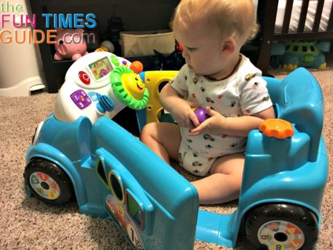 There are lots of fun things to play with inside and outside of the Fisher Price Laugh And Learn Car.