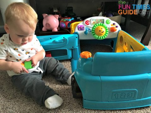 My son playing with the different shapes that come with the Fisher Price Crawl Around Car.