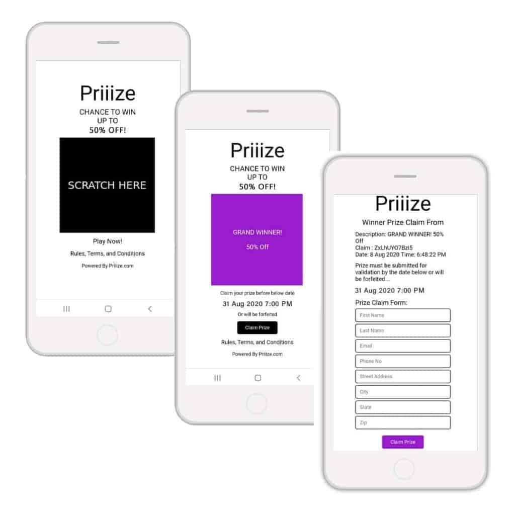 Priiize Virtual Scratch-off Card Template + Prize Claim Forms
