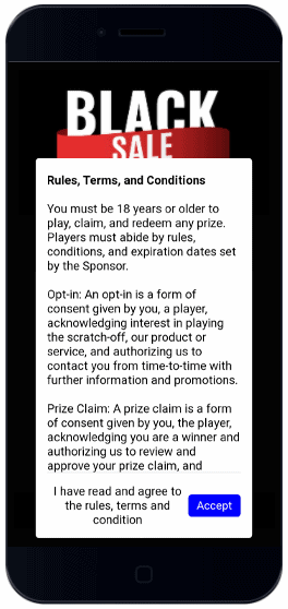 "Agree to Rules, Terms and Conditions set to ""Mandatory"" in order to proceed and play scratch-off game."