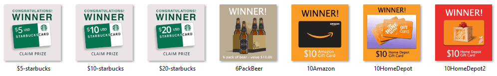 Free Winner Prize Images - 6-Pack of Beer, $10 Amazon Gift Card, $10 Home Depot Gift Card