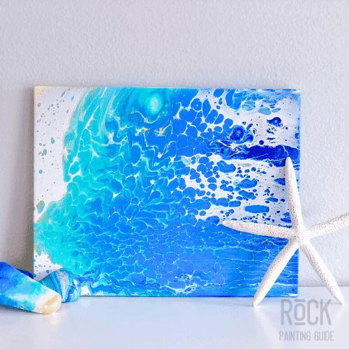 beach surf paint pour wall art