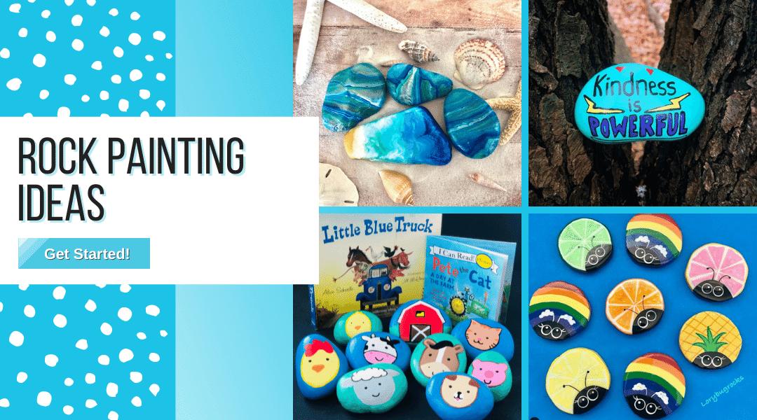 blue painted rocks, bug painted rocks, animal painted rocks