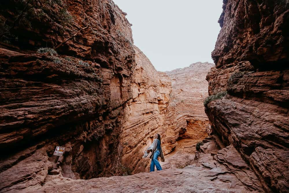 A woman stands in a red canyon