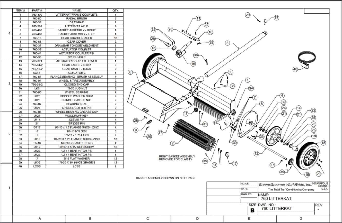 Replacement Parts Diagram for the Turf Sweeper