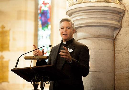 Michael Jensen preaching
