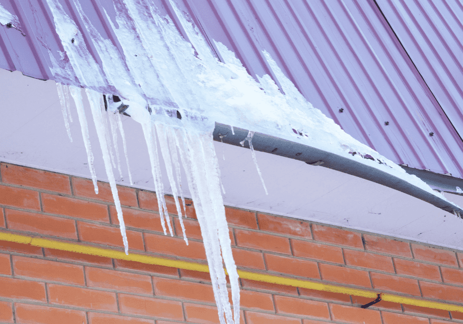icicles on metal roof