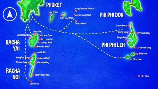 Map of Phuket scuba diving sites