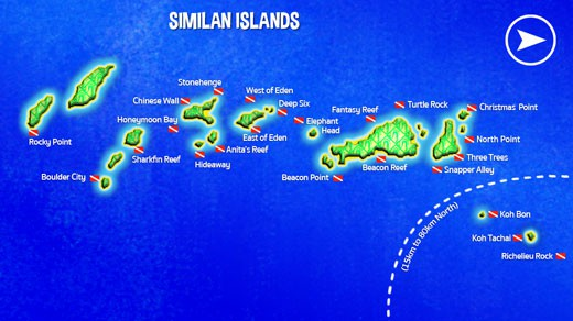 Map of Similan Islands scuba diving sites