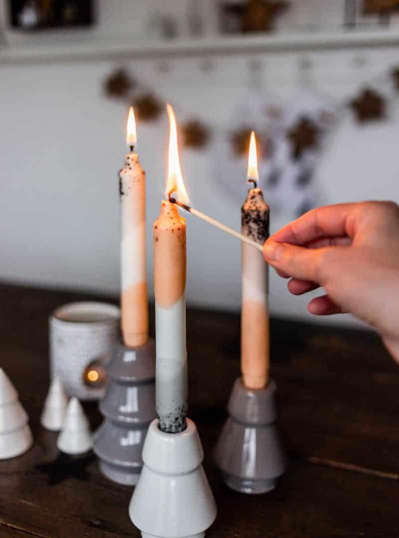 Kerzen färben mit Farbverlauf