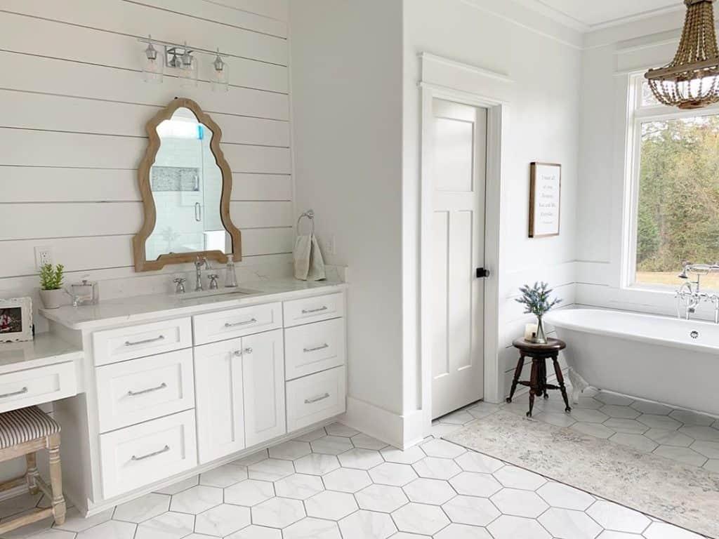high end farmhouse bathroom with white bathroom cabinet ideas