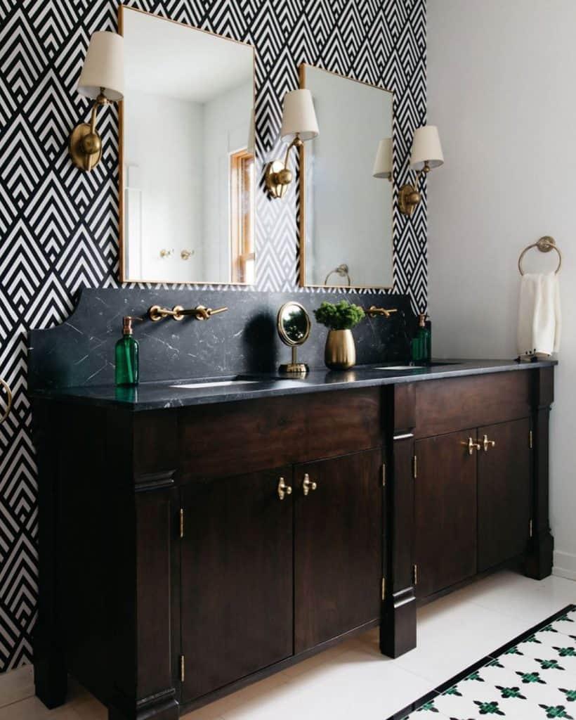 Luxury bathroom cabinet idea with bathroom wall paper pattern