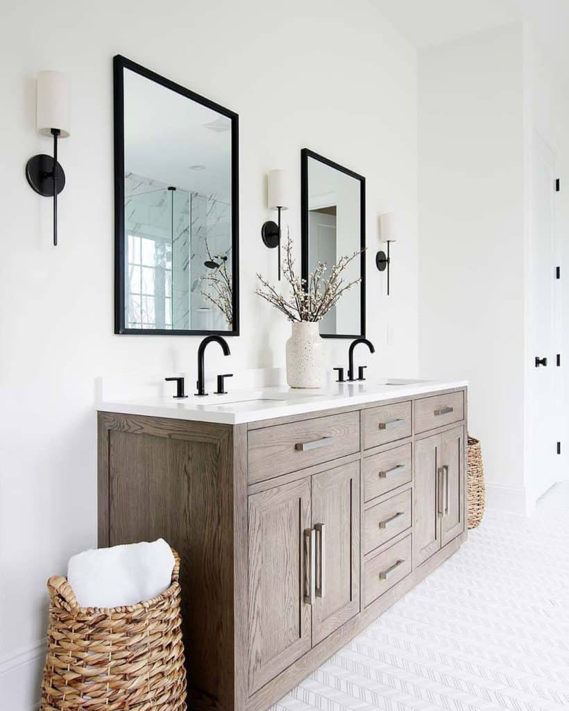 bathroom cabinet idea for white bathroom with oak vanity and matte black bathroom hardware
