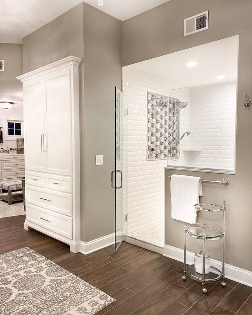 bathroom cabinet idea in gray farmhouse bathroom
