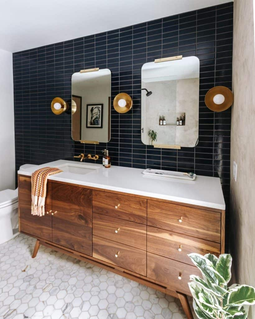 mid century modern bathroom cabinet idea