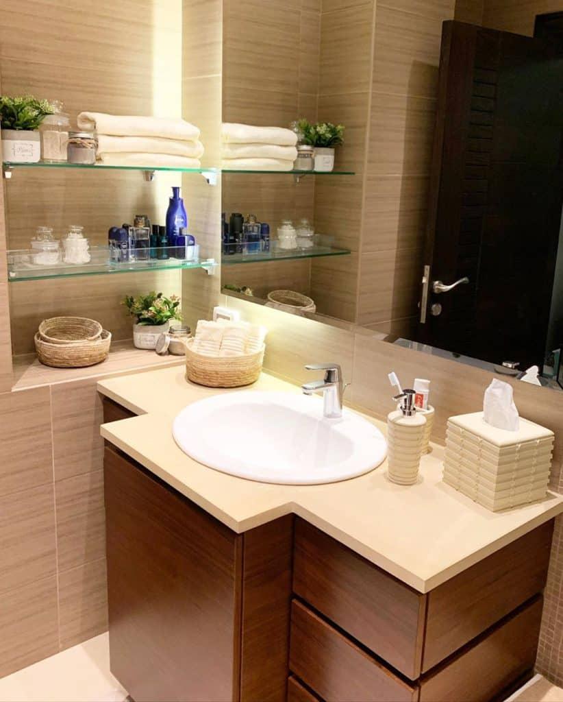 modern bathroom with a unique cabinet idea