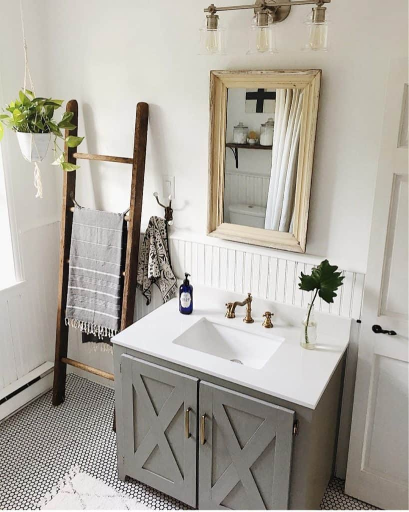 rustic farmhouse bathroom with gray vanity