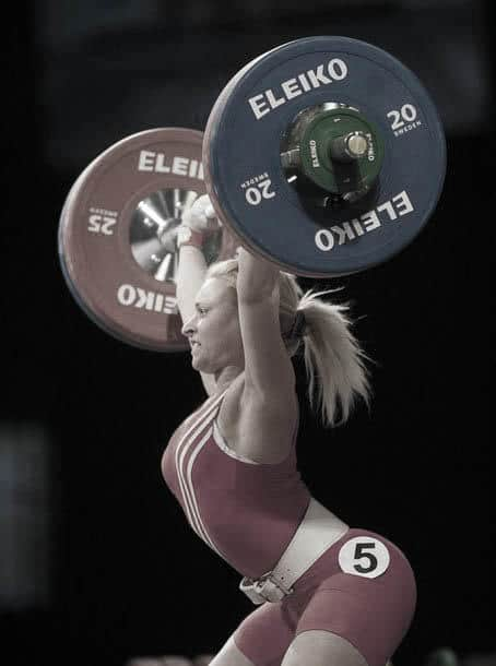 Bulgaria's Kostova competes in the women's 53 kg weightlifting final A competition at the European Weightlifting Championships in Minsk