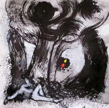 Figura bajo un árbol. Tinta y acrílico, papel en 4 Pintors