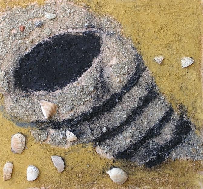 Caracola de mar. Técnica mixta, materia sobre tabla. Escuela de pintura