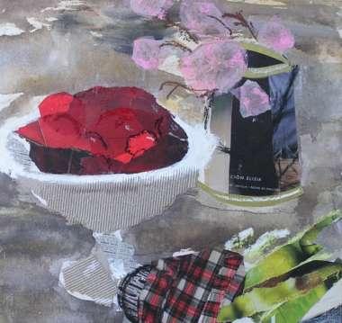 Naturaleza muerta. Técnica mixta: collage, pintura, pastel. Cursos en Barcelona