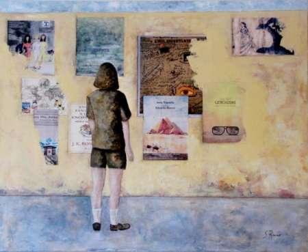 Treball figuratiu d'un alumne en acrílic i collage sobre tela. 4 Pintors Barcelona