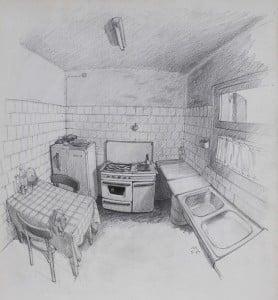 3. LA COCINA. Apunte. 40x34 cm. Escuela dibujo realista