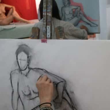 Dibujo y pintura de FIGURA HUMANA con modelo