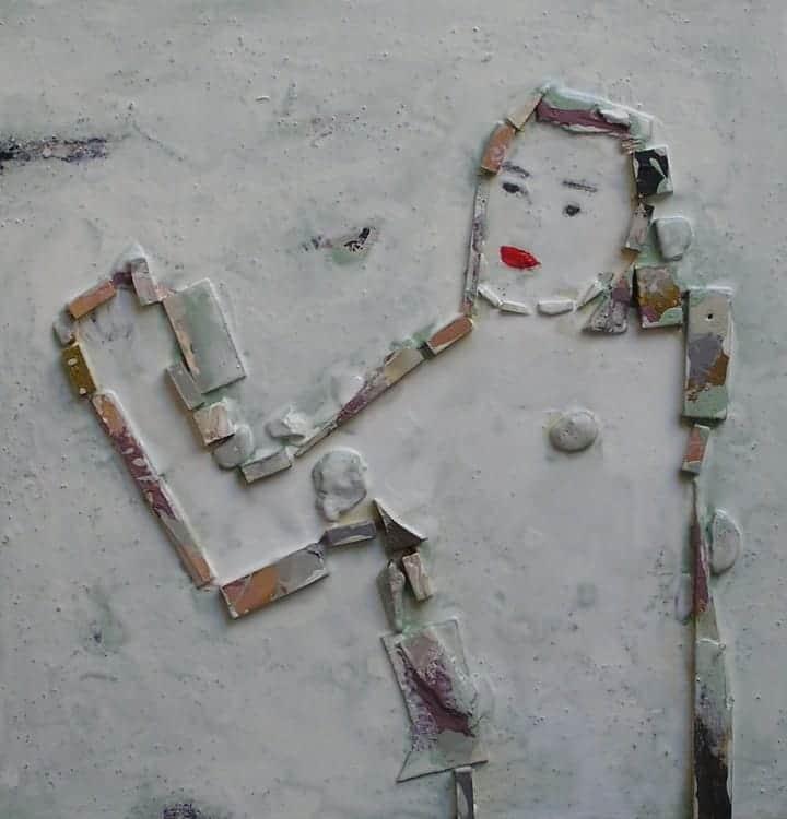FIGURA FEMENINA. Técnica mixta sobre madera. Pintura y dibujo Barcelona