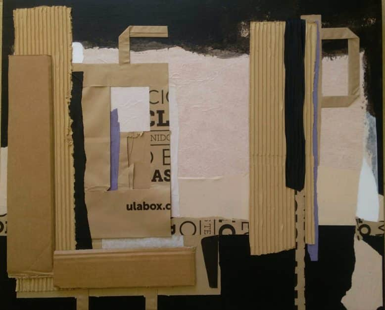 Collage in paper on wood