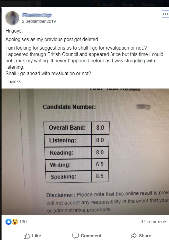 writing score very low for ielts - request eor?