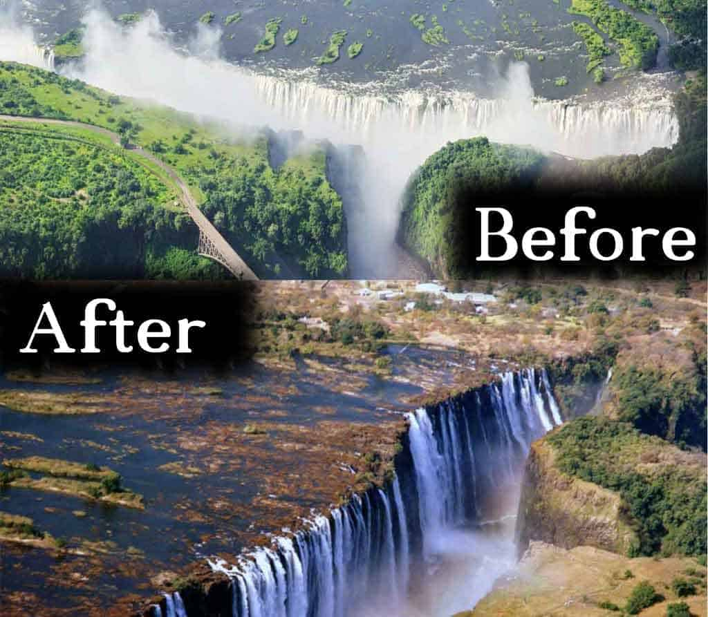 The Victoria - World largest Water Fall is dying due to Climate Change