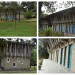 The artistic institutions' Anandaloy' and 'METI School' are made of natural materials