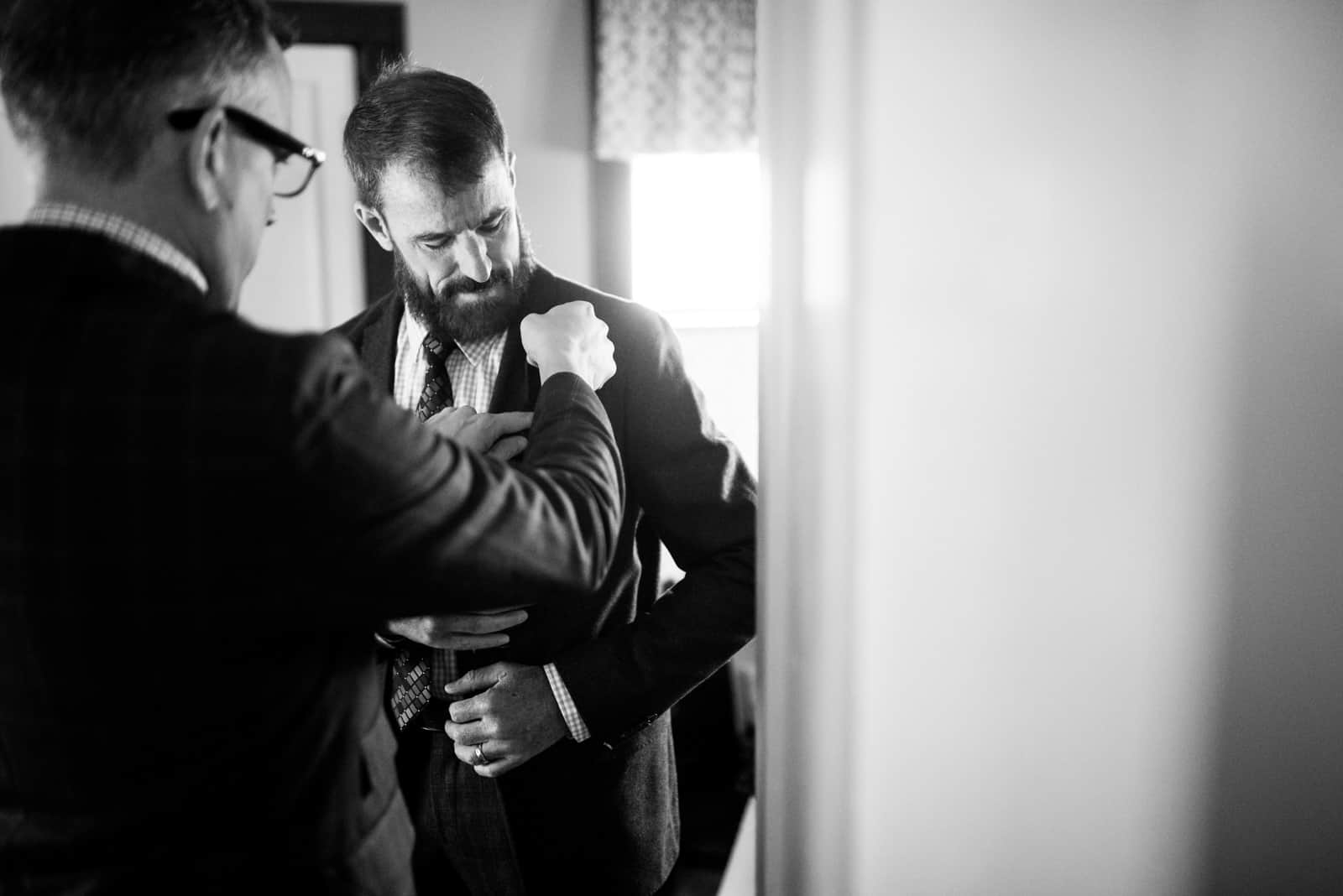 grooms getting ready together gay wedding