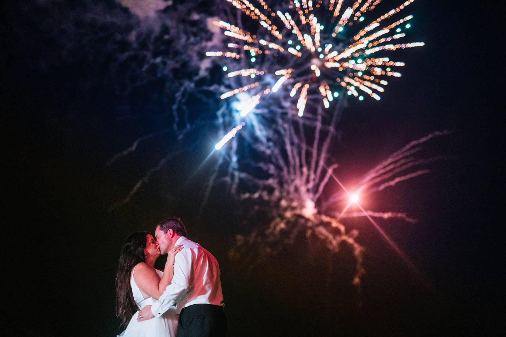 fireworks during wedding reception
