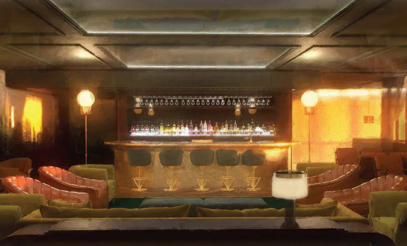 Twelve Thirty Club | Drawing of bar and lounge
