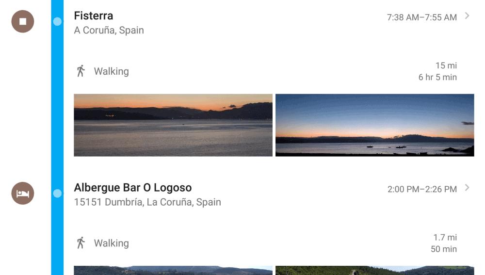 Google Maps - timeline