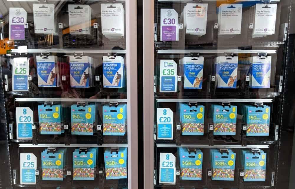 Heathrow vending machine with UK prepaid SIM card packages
