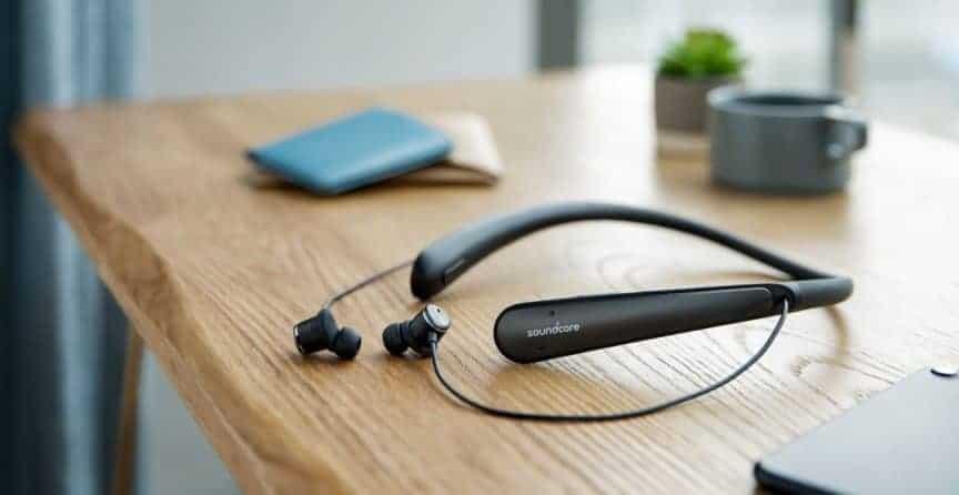Soundcore Life NC headphones on bench